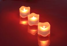 Close-up of valentine candles Stock Photos