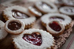 Close up Valentine's Day Cookies on piece of bark Royalty Free Stock Images