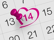 Valentine`s day calendar. Close up of valentine`s day 2018, Valentine`s Day is an annual holiday celebrated on February 14 Stock Illustration