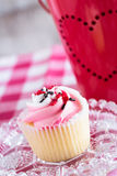 Close Up Valentines Day Cupcake on Glass Plate Royalty Free Stock Photo