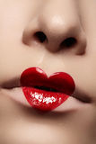 Close-up of Valentines day lips make-up Royalty Free Stock Images