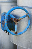 Close-up of a valve handle. Close-up of a rusty blue valve handle Royalty Free Stock Photography