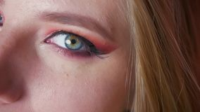 Close-up van aantrekkelijke vrouwelijke blauwe ogenmake-up met roze schaduwen en gouden eyeline Juist oog die camera bekijken stock videobeelden