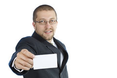 Close-up van adreskaartje in bedrijfs man hand Stock Foto