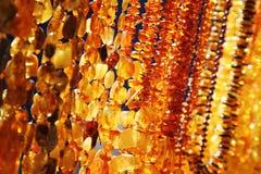 Close-up van amberjuwelen Royalty-vrije Stock Afbeelding