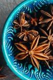 Close-up van Anise Stars De achtergrond van het kruid Royalty-vrije Stock Afbeeldingen