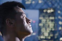 Close-up van atleet omhoog het kijken, portret Stock Fotografie