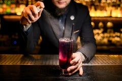 Close-up van barman het bespuiten aan alcoholcocktail royalty-vrije stock foto's