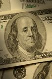 Close-up van Benjamin Franklin op rekening $100 Stock Afbeeldingen