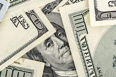 Close-up van Benjamin Franklin Portrait op Honderd Dollar Bil Stock Foto
