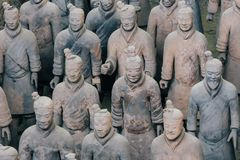 Close-up van beroemd Terracottaleger van Strijders in Xian, China royalty-vrije stock fotografie