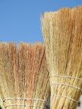 Close-up van bezems van palmvezel die wordt gemaakt stock fotografie