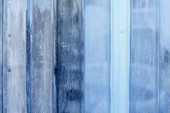 Close-up van blauwe geschilderde metaaloppervlakte royalty-vrije stock foto