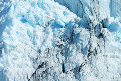 Close-up van Blauwe Ijzige Gletsjertextuur Stock Foto's