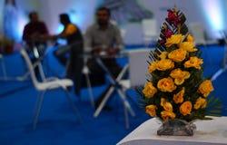 Close-up van bloemboeket in een tentoonstelling stock afbeeldingen