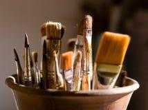 Close-up van borstels voor het schilderen Stock Afbeelding