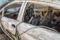 Close-up van Brandwond uit Auto op de Straat royalty-vrije stock afbeeldingen
