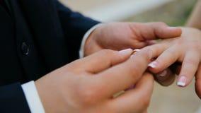 Close-up van bruid en bruidegom die trouwringen over groene aardachtergrond ruilen stock videobeelden