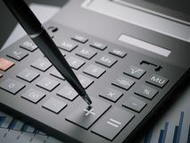 Close-up van calculator op een blad met grafieken het 3d teruggeven Royalty-vrije Stock Afbeeldingen