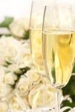 Close-up van champagneglazen Royalty-vrije Stock Afbeeldingen