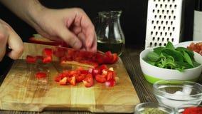 Close-up van chef-kok die een wortel met Spaanse peper op scherpe raad hakken stock footage
