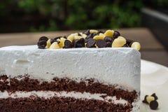 Close-up van chocoladeschilfers op chocoladecake die wordt geschoten Stock Fotografie