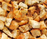 Close-up van croutons Stock Afbeeldingen