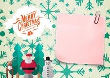 Close-up van 3D kleverig nota en Kerstmisbericht Royalty-vrije Stock Afbeelding