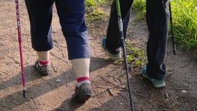 Close-up van de benen van twee vrouwengepensioneerden die in het Park lopen die op skistokken leunen Ras het lopen stock videobeelden