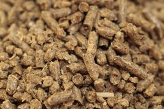 Close-up van de brandstof het houten korrel Een bron van alternatieve schone energie Heel wat korrel Natuurlijke brandstof en ene stock foto's