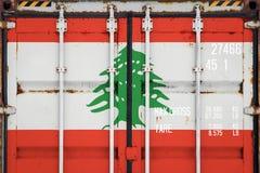 Close-up van de container met de nationale vlag royalty-vrije stock afbeeldingen