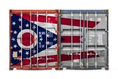 Close-up van de container met de nationale vlag stock fotografie