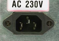 Close-up van de elektrocontactdoos op de rug van de computervoeding Royalty-vrije Stock Afbeeldingen