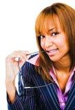 Close-up van de jonge oogglazen van de vrouwenholding Royalty-vrije Stock Foto