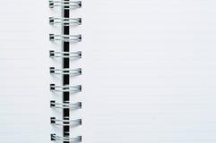 Close-up van de lege spiraalvormige witte nota van de puntlijn Royalty-vrije Stock Afbeelding