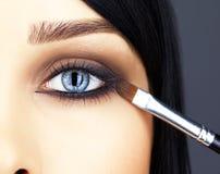 Close-up van de make-up die van het vrouwenoog wordt geschoten Royalty-vrije Stock Afbeelding