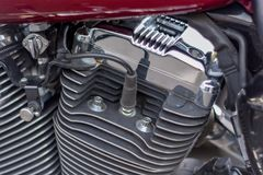 Close-up van de motorfiets van motorcilinders stock afbeeldingen