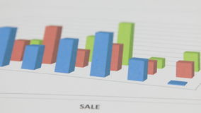Close-up van de omwenteling van een gekleurde grafiek stock videobeelden
