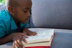 Close-up van de roman van de jongenslezing op bank thuis Royalty-vrije Stock Fotografie