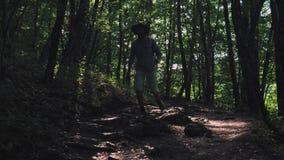 Close-up van de voet in de laars De looppas van een mensenwandelaar langs de weg in de de zomer boswandelaar die in bos bij zonso stock footage