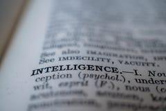 Close-up van de woordintelligentie stock foto