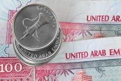 Close-up van dirhammuntstukken Stock Foto
