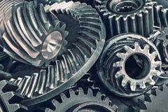 Close-up van diverse wielen van het staaltoestel royalty-vrije stock foto's