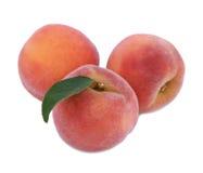 Close-up van drie smakelijke kleurrijke die perziken, op een witte achtergrond wordt geïsoleerd Sappig mooi fruit van perziken, v Stock Foto
