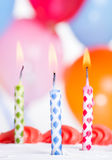 Close-up van Drie Verjaardagskaarsen Royalty-vrije Stock Fotografie