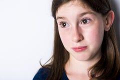 Close-up van een 10 éénjarigenmeisje Stock Fotografie