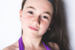 Close-up van een 10 éénjarigenmeisje Royalty-vrije Stock Afbeeldingen