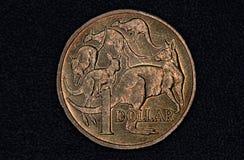 Close-up van een Australisch 1 dollarmuntstuk Royalty-vrije Stock Afbeeldingen