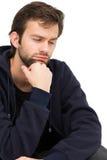 Close-up van een beklemtoonde knappe jonge mens Stock Fotografie