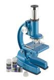 Close-up van een blauwe microscoop Royalty-vrije Stock Afbeeldingen